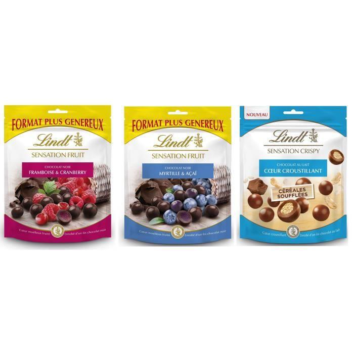 Lot de 3 - LINDT 1 Sensation Fruit Framboise et Cranberry 160g + 1 Sensation Fruit Myrtille et Acai 160g + 1 Sensation Crispy 140g