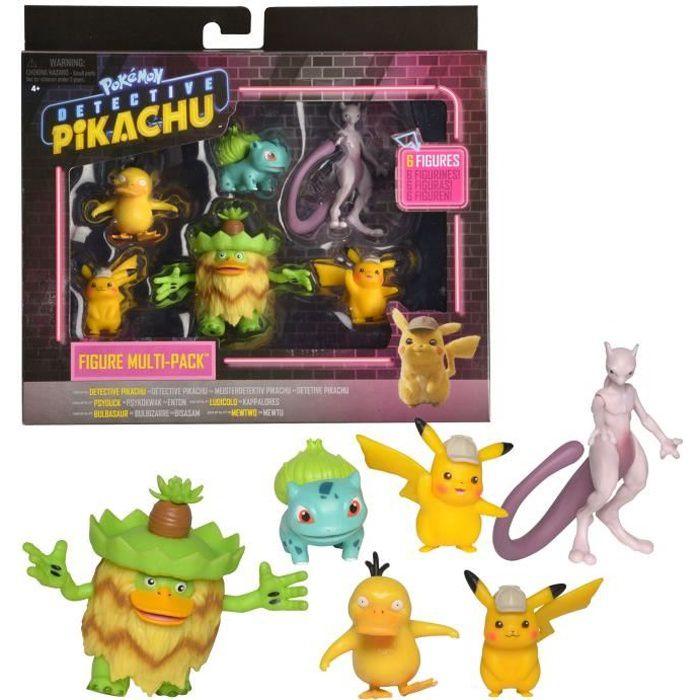 Pokémon - film Détective Pikachu - Pack de 6 figurines 5 - 8 cm - 2 Détective Pikachu, Bulbizarre, Psykokwak, Ludicolo et Mewtwo