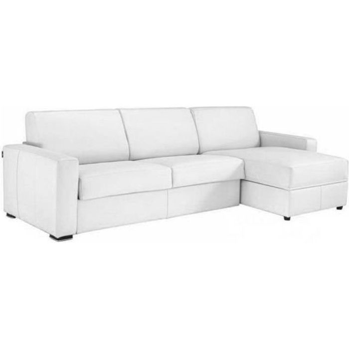Canapé d'angle DREAMER convertible EXPRESS 120cm, polyuréthane blanc,. matelas 16 cm blanc Cuir Inside75