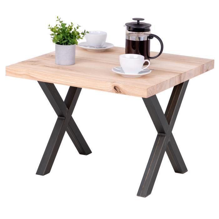 LAMO MANUFAKTUR Table basse industrielle - bois massif - salon - 60x60x47cm - frêne sévère - pieds acier brut - modèle design
