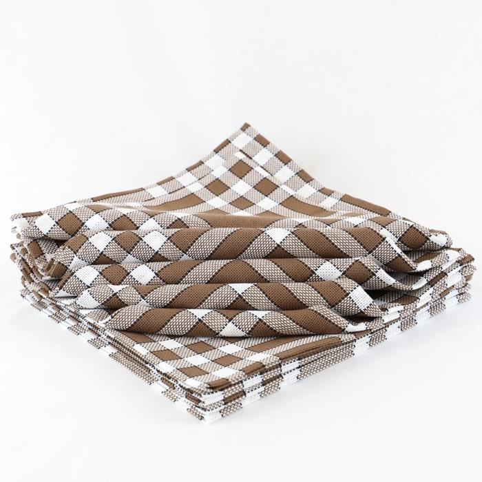 LINANDELLE - Lot de 10 serviettes de tables coton 57 fils carreaux vichy Normand NELLY - Marron