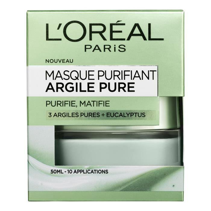 L'ORÉAL PARIS - Masque Visage Purifiant Argile Pure - 50 ml