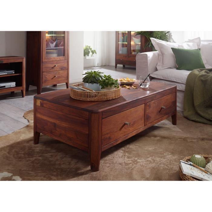 Table basse 120x70cm - Bois massif de palissandre huilé (Noisette) - Style moderne - BROOKLYN #12