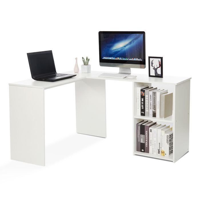 Bureau d'angle avec Rangement 2 Étagères,bureau informatique, bureau d'ordinateur, Bois, Blanc-Mondeer