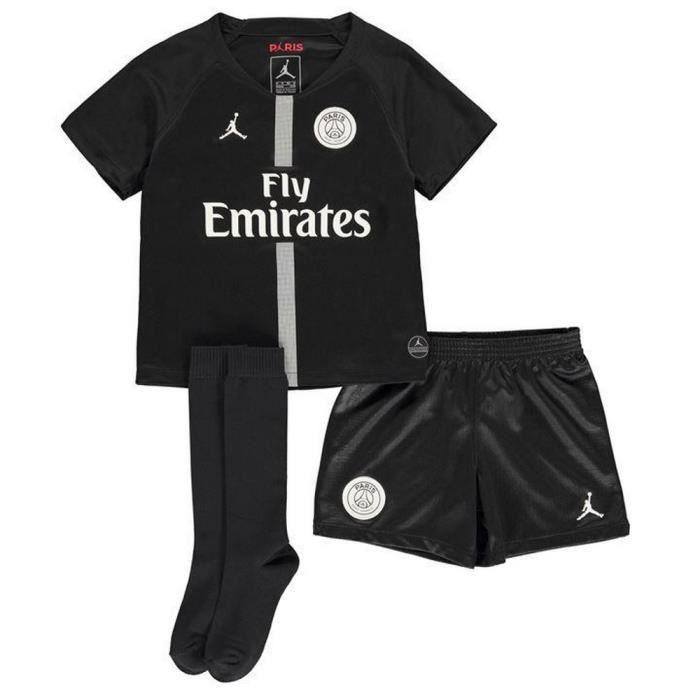 Mini-Kit Officiel Nike Jordan Enfant PSG Paris Saint-Germain Third Noir Saison 2018-2019