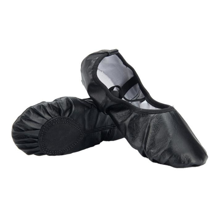 Women Classic Oxhide Soft Sole Ballet Slippers Dance Gymnastics Yoga Shoes Flats - Size 35 (Black) CHAUSSON DE DANSE