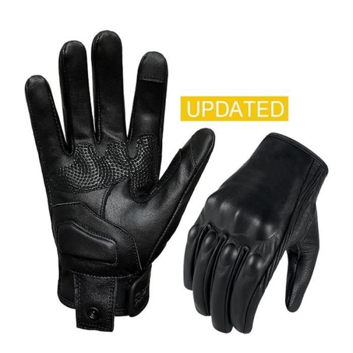 Gants,Gants de moto en cuir pour femmes, XS S M, pour moteur, pour Motocross, pour Motocross, pour - Type Black NonPerforated - S