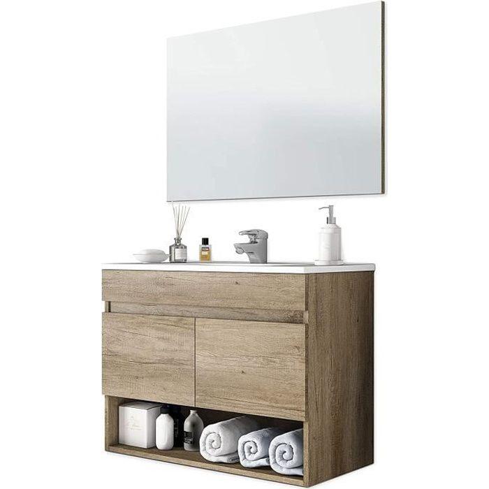 Meuble sous-vasque Suspendue avec 2 portes + miroir coloris nordik - 80 cm (longueur) x 64 cm (Hauteur) x 45 cm (Profondeur)
