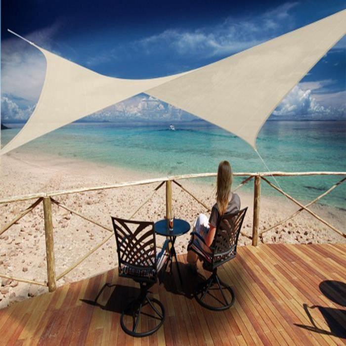 Voile d'ombrage carrée Sable Ajouré en Polyéthylène tressé 185 grs-m² anti-UV, 500 x 500 cm