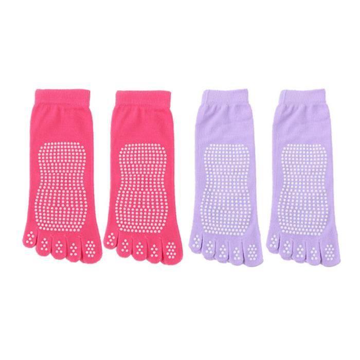 2 paires femmes Pilates semelles antidérapantes chaussettes à cinq doigts à orteils TAPIS DE SOL - TAPIS DE GYM - TAPIS DE YOGA