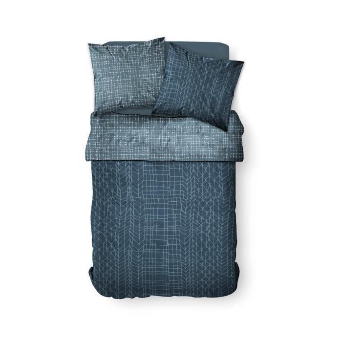 Housse de couette 220x240 Sunshine Agri + 2 taies 100% coton 57 fils Bleu
