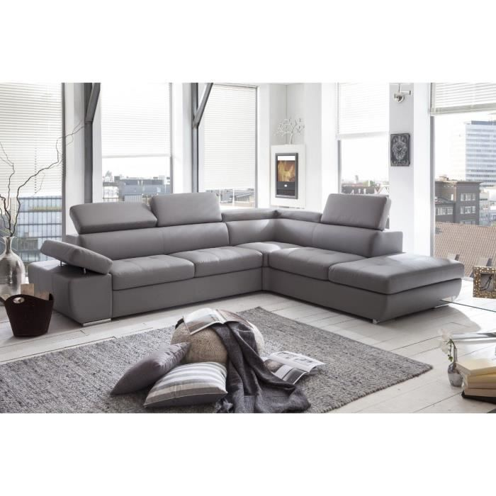 canape angle casablanca droit simili gris perle achat vente canap sofa divan black. Black Bedroom Furniture Sets. Home Design Ideas