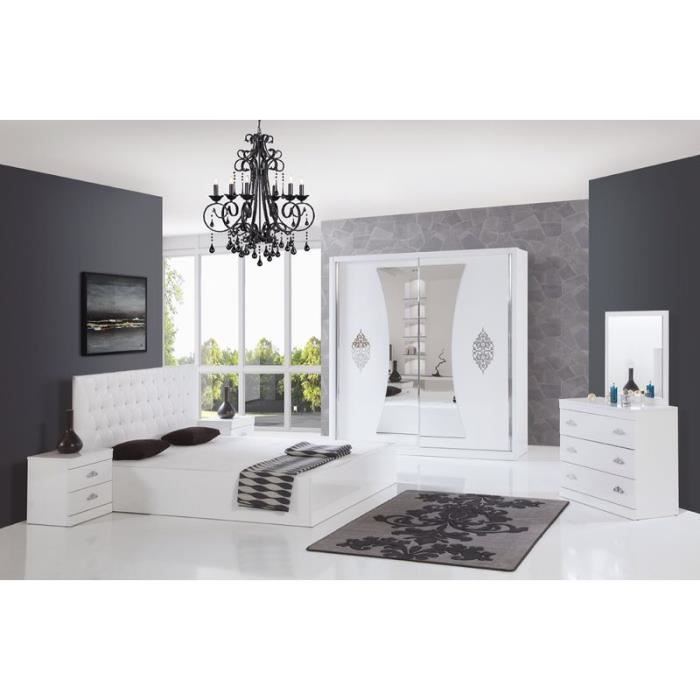 chambre compl te paris blanc armoire 2 portes achat vente chambre compl te chambre. Black Bedroom Furniture Sets. Home Design Ideas