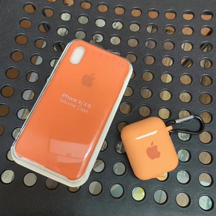 Apple Coque en silicone iPhone X/Xs (5.8'') avec coque airpods Bleu
