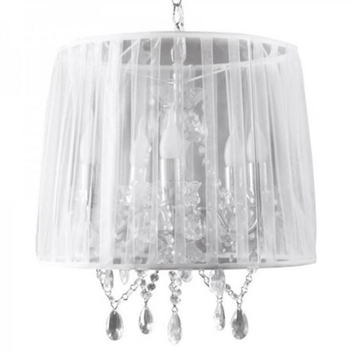 Suspension chandelier baroque 39 kosy 39 blanche achat for Suspension baroque