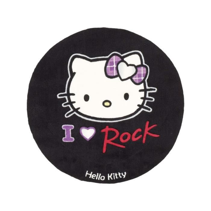 hello kitty tapis enfants rock noir 80 cm rond achat vente tapis cdiscount. Black Bedroom Furniture Sets. Home Design Ideas