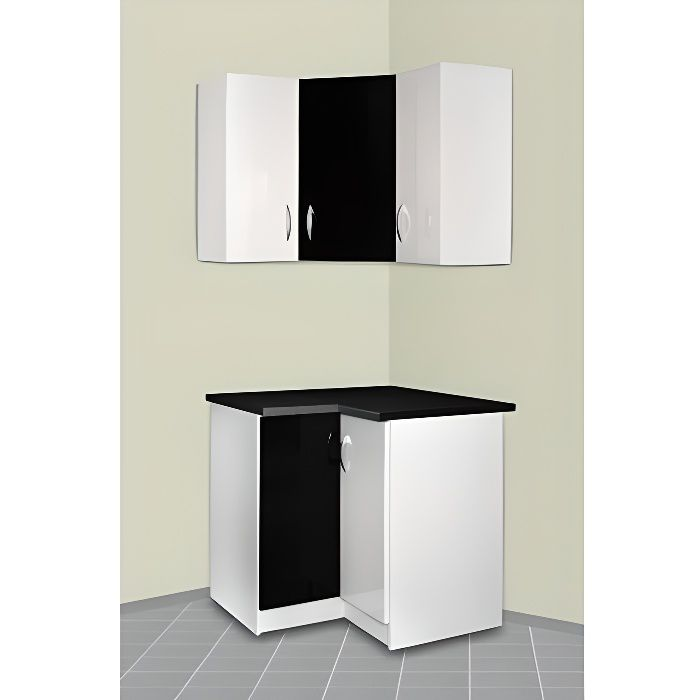 meuble cuisine d 39 angle haut et bas oxane noir achat. Black Bedroom Furniture Sets. Home Design Ideas