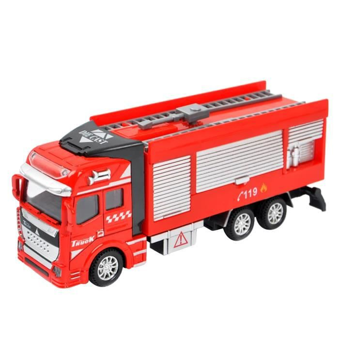 b b jouet camion de pompier 1 48 echelle v hicules fire rescue truck cannon eau voiture. Black Bedroom Furniture Sets. Home Design Ideas
