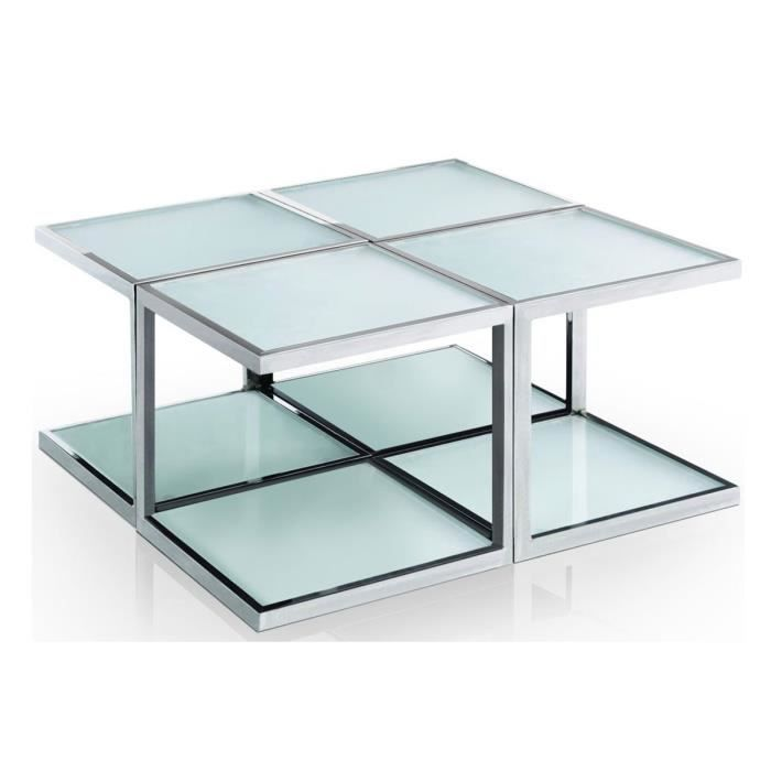 Table basse design en 4 parties verre blanc ohio achat vente table basse - Table basse en verre blanc ...