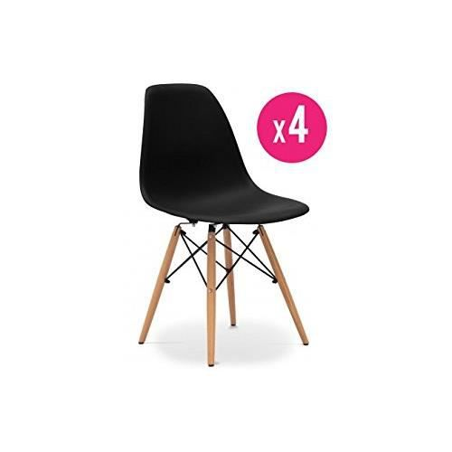 lot de 4 chaises eames dsw noires achat vente chaise noir cdiscount. Black Bedroom Furniture Sets. Home Design Ideas