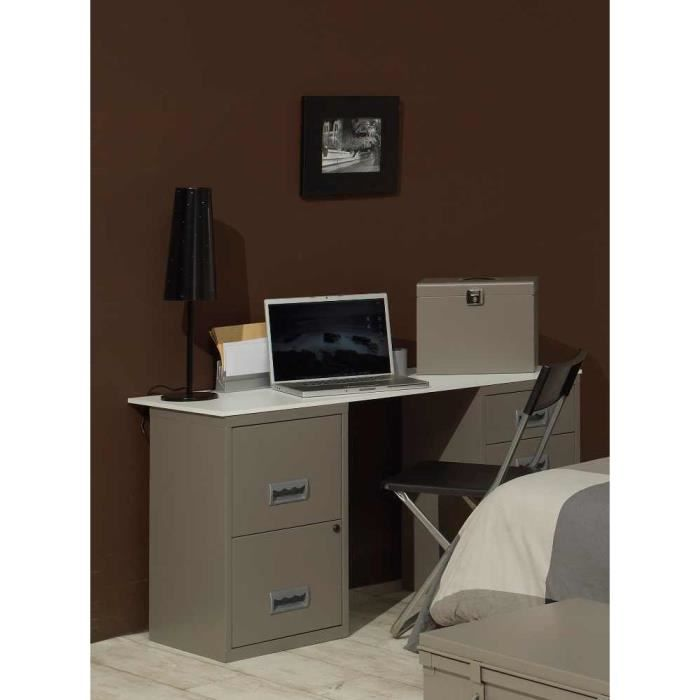 bureau design en m tal taupe 130x50x68cm achat vente bureau bureau design en m tal taup. Black Bedroom Furniture Sets. Home Design Ideas