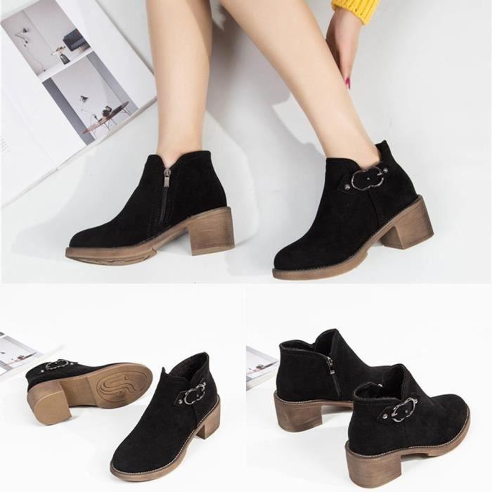 Bottes courtes en cuir à la cheville en métal épais pour femmes avec chaussures à bout rond SCH81103832BK36_YOU