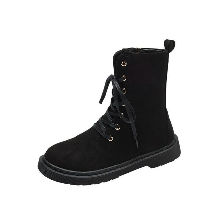 Femmes Zipper Lace Up causales cool Bottes moto plat avec des bottes de couleur solide Noir