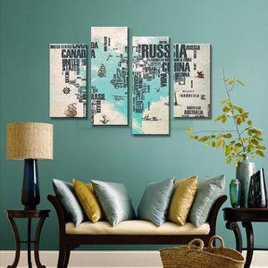 TABLEAU - TOILE Simple 4Pcs Blue Abstract Letter Cartes du monde P