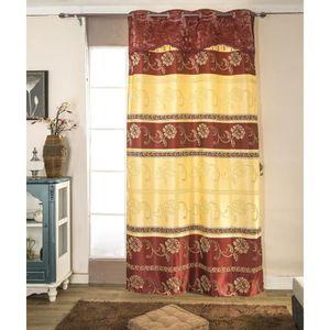 RIDEAU Paire de double rideaux 140x260 cm Rouge