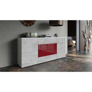 BUFFET - BAHUT  Buffet blanc mat et façade bordeaux et béton mat M