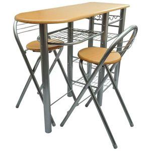 TABLE À MANGER COMPLÈTE Lot d'une table de bar avec 2 chaises  Ensembles d