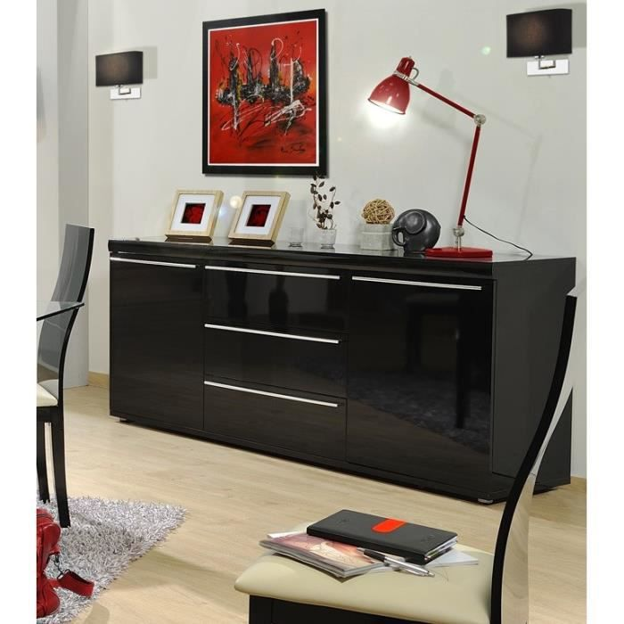 black buffet 195cm laqu noir achat vente buffet bahut black bahut 2 portes 3 tiroirs. Black Bedroom Furniture Sets. Home Design Ideas