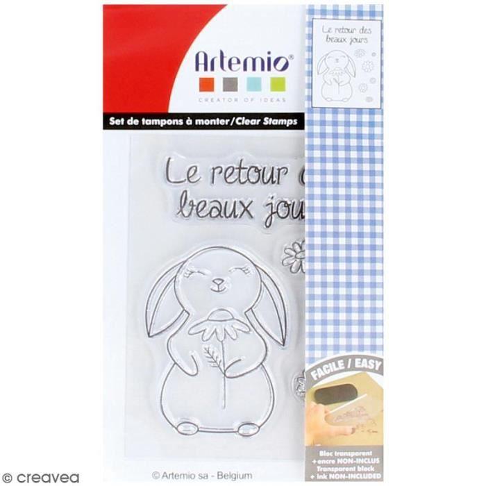 Tampon clear Artemio - Retour des beaux jours - 8 pcs ampon transparent Artemio, idéal pour scrapbooking, carterie et Home Deco :