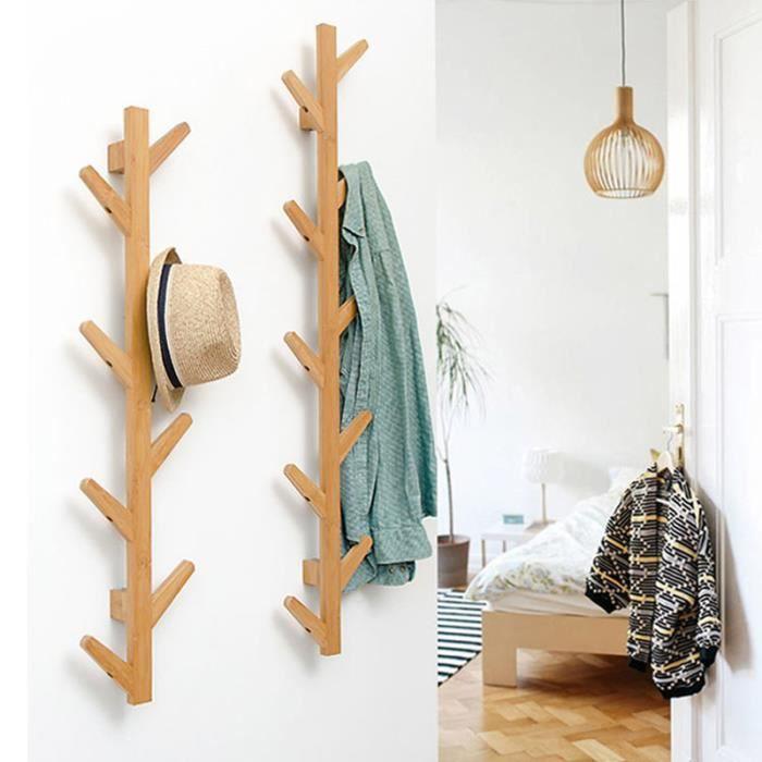 Porte Manteau Mural en Bois de Bambou - Forme d' Arbre - 8 Crochets