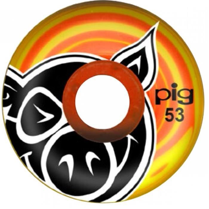ROUES PIG CRUISER (JEU DE 4) STREET SWIRL 53MM YELLOW ORG