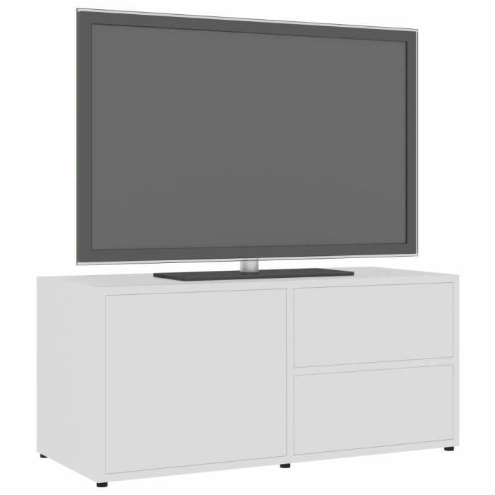 HAO Meuble TV, Blanc brillant 80cm Aggloméré