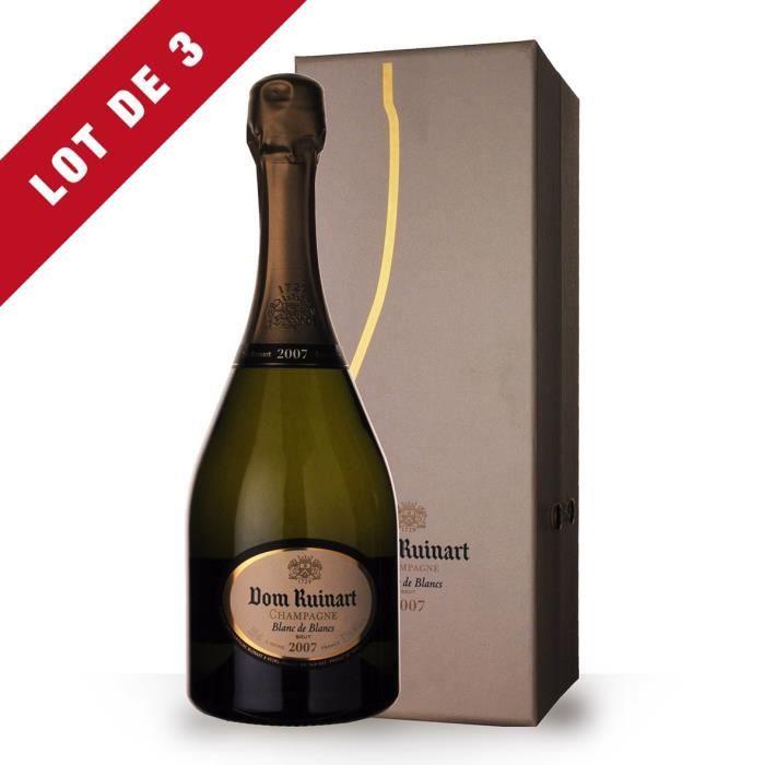 Lot de 3 - Dom Ruinart 2007 Blanc de Blancs - Coffret - 3x75cl - Champagne