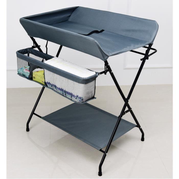Table à langer pliable pour bébé 0-24 mois - Gris