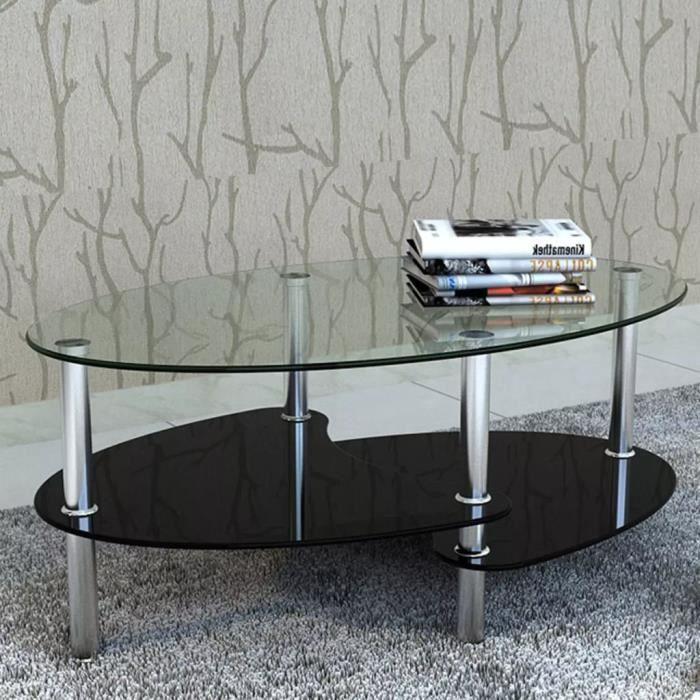 Table basse - Design exclusif - Verre trempé et Cadre en métal - 90 x 45 x 43 cm - Noir