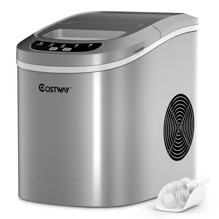 COSTWAY Machine à Glaçons Machine pour Glace Réservoir 2,2L,12kg/24H 9 Glaçons par 6-13Min, pour Maison,Bureau,Café Argent