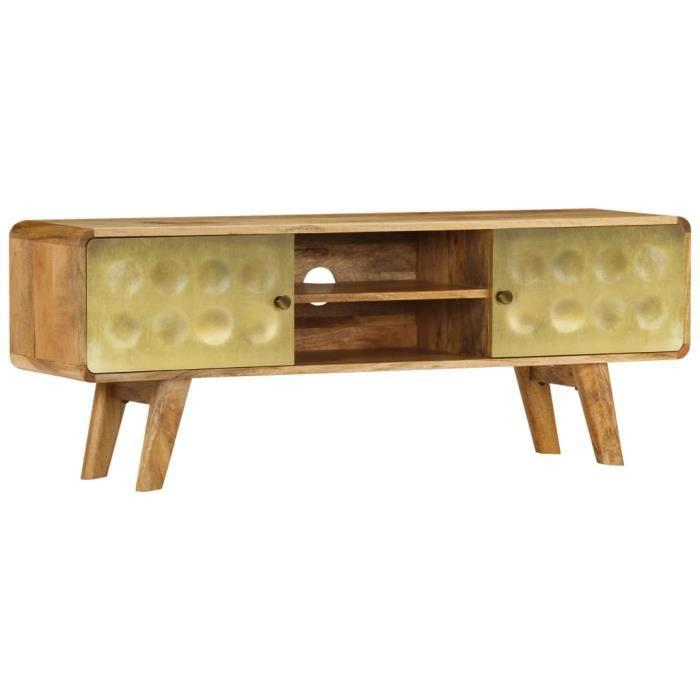 Meuble TV avec Imprimé Doré - Style Vintage - Bois de Manguier Massif - Meuble HiFi - Surface Polie et Laquée - 120 x 30 x 45 cm