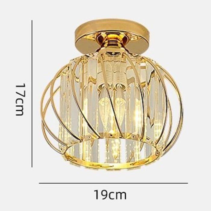 Plafonnier en Cristal Ampoule E27 Dimmable 3 Couleurs Blanc Chaud Blanc Neutre Blanc Froid Métal Plafonnier Pour Couloir 12W - Doré