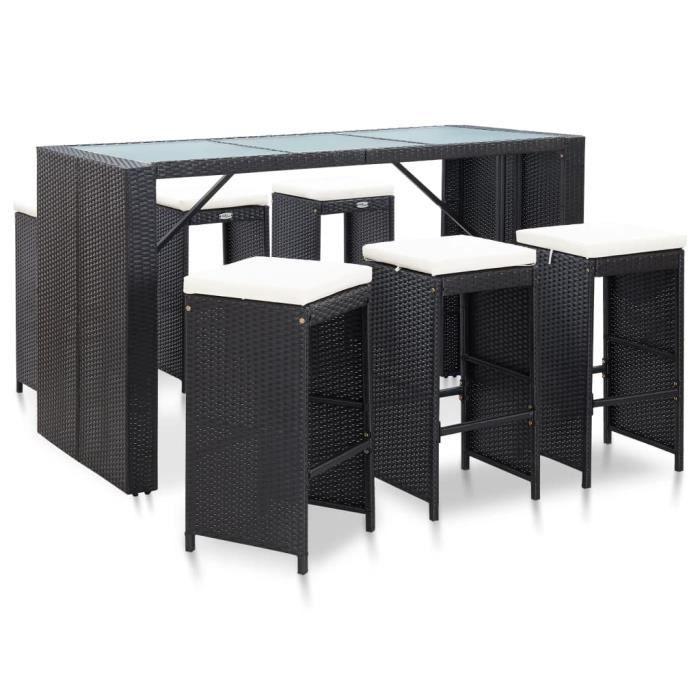 Ensemble Table de bar + 6 tabourets bar Mange-Debout et coussins Résine tressée Noir *961954