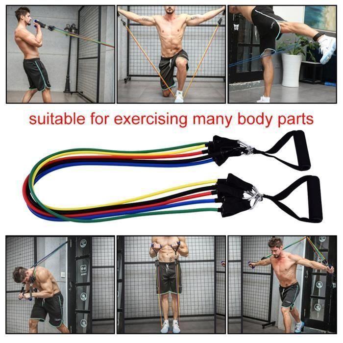 ss-33-Kit d'exercice pour cordes d'élasticité pour exercices de résistance physique avec exercices de yoga Pilates -PEL