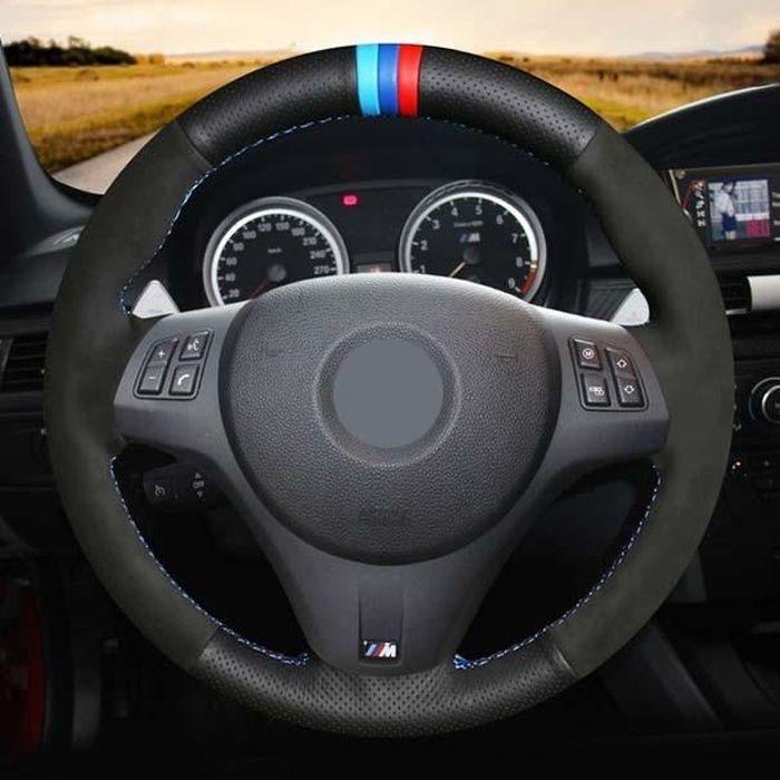 Couvre volant,Couvre volant de voiture cousu main en cuir véritable noir pour BMW M Sport M3 E87 E81 E82 E88 E90 E91 E92 - Type 3