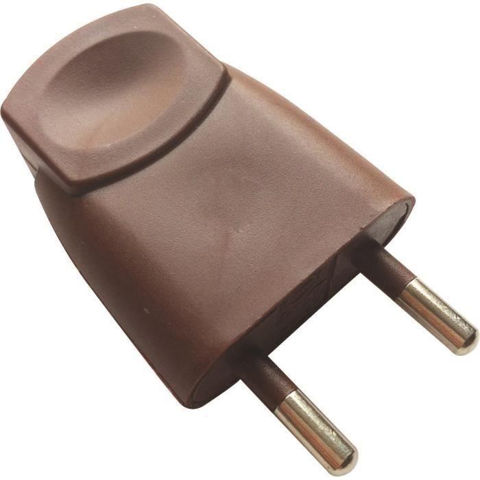 VOLTMAN Fiche électrique mâle - 6A - 2P - Marron (Lot de 3)