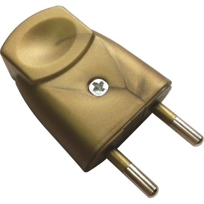 VOLTMAN Fiche électrique mâle - 6A - 2P - Or (Lot de 3)