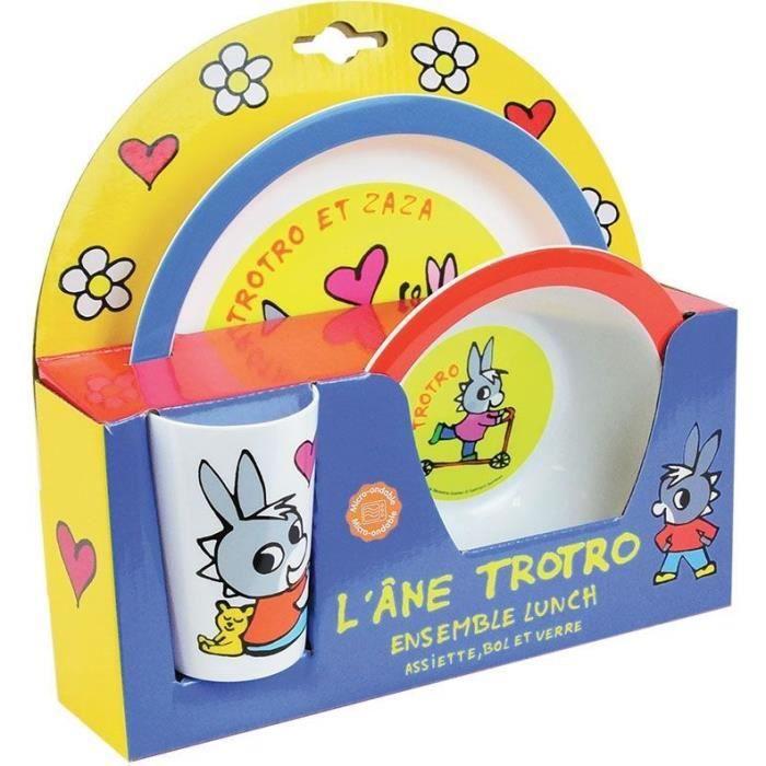 FUN HOUSE Trotro 5802 Ensemble de repas incluant 1 verre 220 ml, 1 assiette et 1 bol micro-ondables pour enfant
