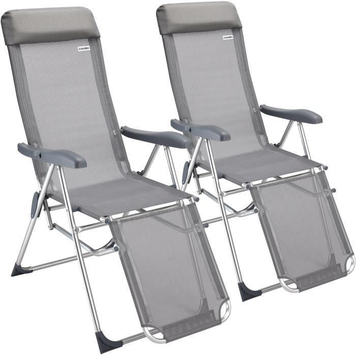 2x Fauteuil de jardin pliable • Réglage 7 positions • Chaise longue pliante • Tissu anti-transpirant - Jardin terrasse camping