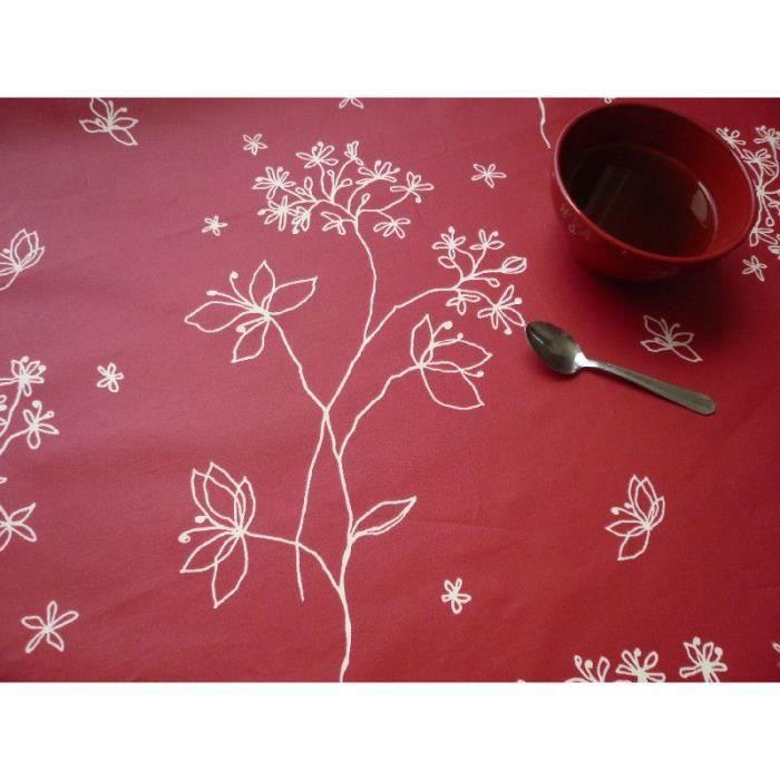 Nappe coton enduit Astrance rouge ronde Ø160 - Fleur de Soleil